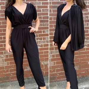 Vintage Jumpsuit Jacket Black Statement Shoulder
